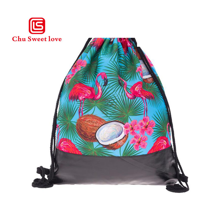 2018 New Style 3D Printing Lovely Flamingos Women Drawstring Backpack School Drawstring Pocket Pattern Women Drawstring