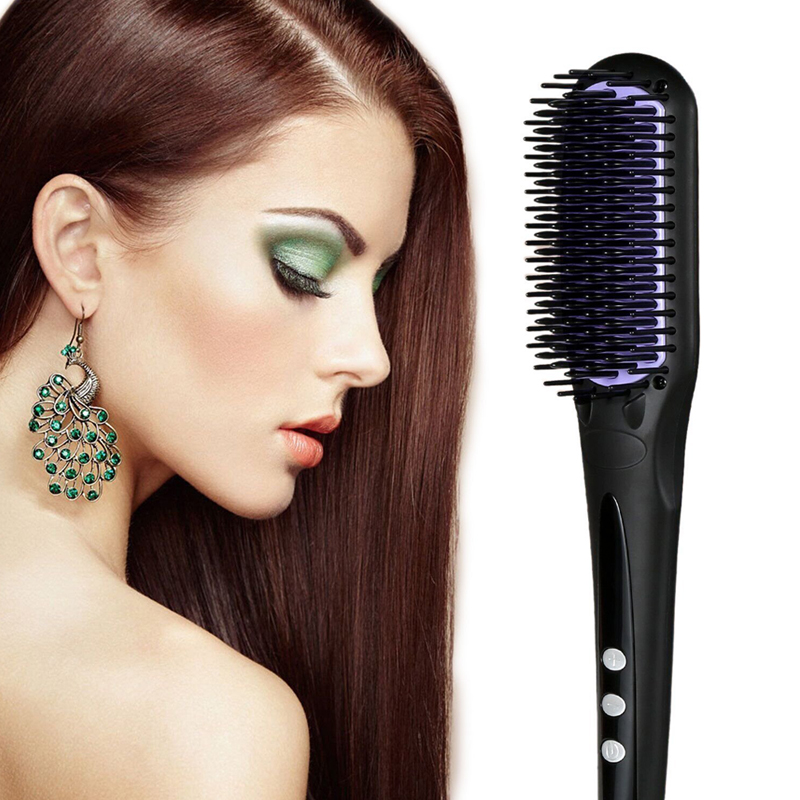 USHOW Electric Hair Straightener Brush Comb Fast Ceramic Professional Straightening Irons Hair Brushes professional vibrating titanium hair straightener digital display ceramic straightening irons flat iron hair styling tools eu