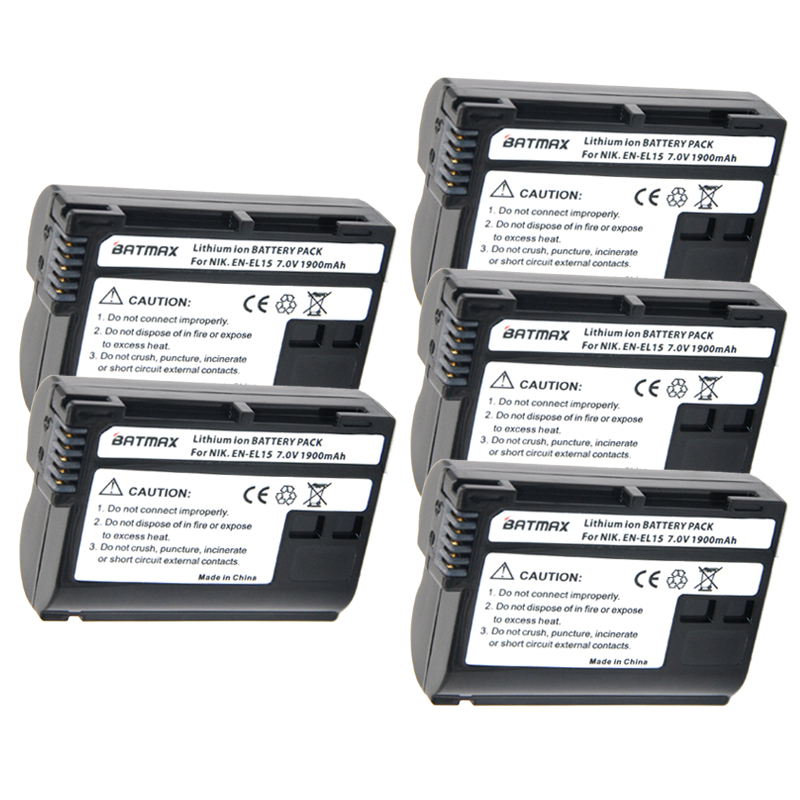 5 Pçs/lote EN-EL15 EN EL15 ENEL15 bateria da Câmera para Nikon D600 D610 D810 D7000 D7100 D800 D800E D600E V1 d750 MH-25