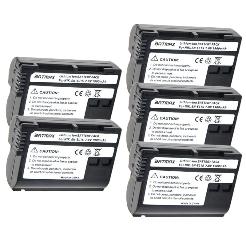 5 stks/partij EN-EL15 EN EL15 ENEL15 Camera accu voor Nikon D600 D610 D600E D800 D800E D810 D7000 D7100 d750 v1 MH-25