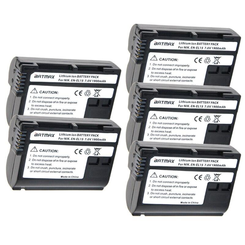 5 unids/lote en-el15 en el15 enel15 Baterías para cámara para Nikon d600 d610 d600e d800 d800e D810 D7000 d7100 d750 V1 mh-25