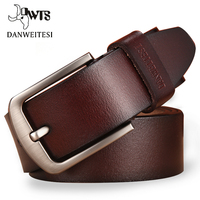 DWTS Leather Belt Men Male Genuine Leather Strap Luxury Pin Buckle Fancy Vintage Jeans Cintos