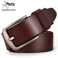 DWTS Leather Belt Men Male Genuine Leather Strap Luxury Pin Buckle Fancy Vintage Jeans Cintos