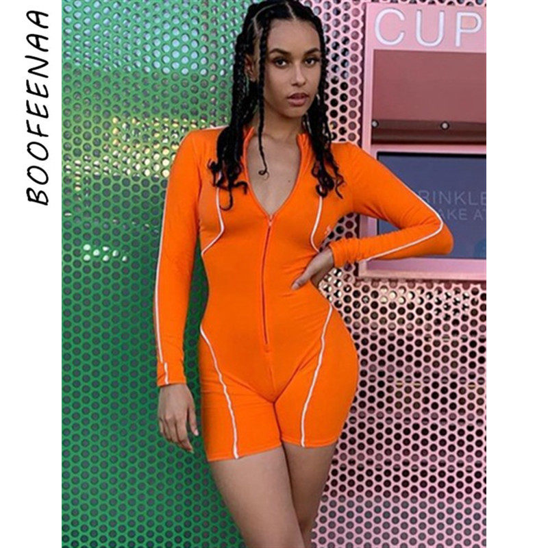 BOOFEENAA Sexy Bodycon Rompers Jumpsuit Women Streetwear Zipper Striped Long Sleeve Playsuit Fall 2019 Club Outfits C67-AD25(China)