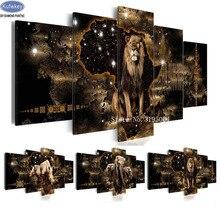 Diseño del león bordado con diamantes, elefante, pintura de diamante 5 uds cuadro de mosaico de diamantes de imitación decoración del hogar de punto de cruz