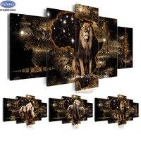diamond embroidery lion,elephant,diamond painting 5 pcs full diamond mosaic picture of rhinestones cross stitch home decoration