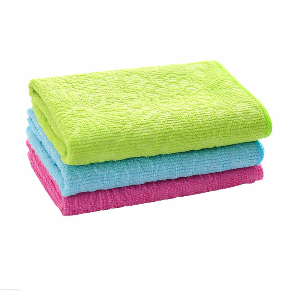 عالية كفاءة مكافحة الشحوم اللون صحن القماش الخيزران الألياف غسل منشفة سحرية المطبخ تنظيف قطعة قماش للمسح 2019 الساخن بيع