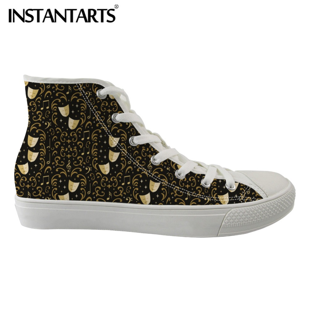 INSTANTARTS Breathable Women Flats Shoes Female Casual Canvas Shoes High Top Canvas Shoes Theater Damask Print Spring Sneakers