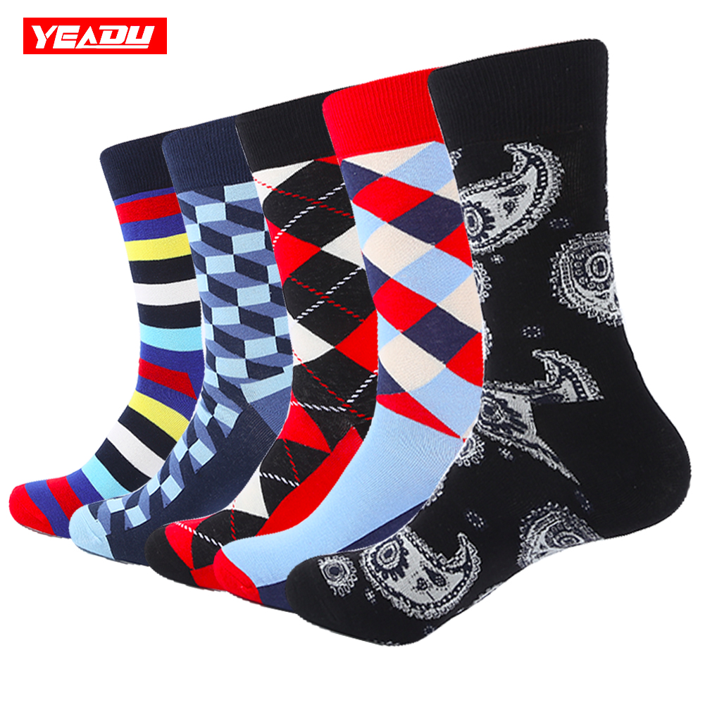 YEADU 5 pair/lot Mens Colorful Stripe Soft Warm Stripe Breathable Combed Cotton Funny Crew Socks Happy Socks