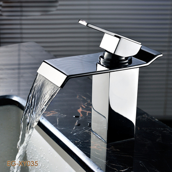 Single holes bathroom waterfall basin mixer with solid brass basin mixer tap for bathroom basin washing sink faucet