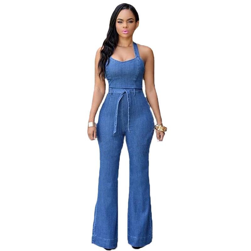 Women Sexy Halter Denim Jumpsuits New Fashion Wide Leg Jeans Rompers