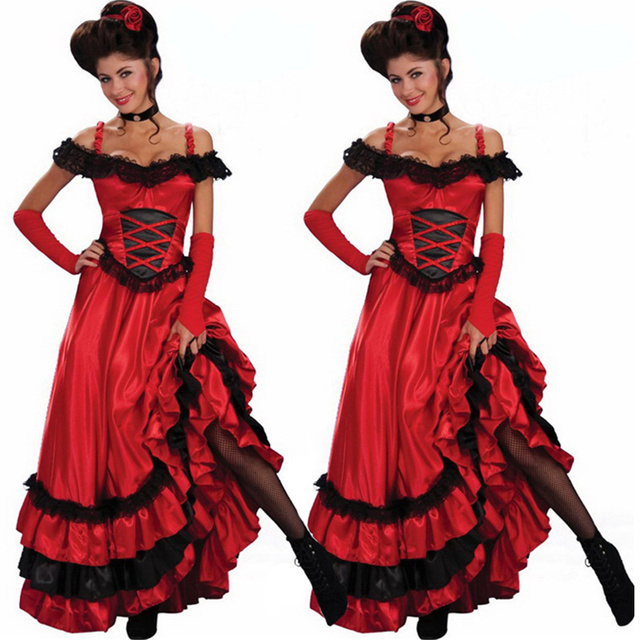 75751db9738 New Wholesale Sexy Red Dance Dress Ladies Sexy Saloon Girl Wild West  Burlesque Costume Fancy Tango Stage Performance Dress
