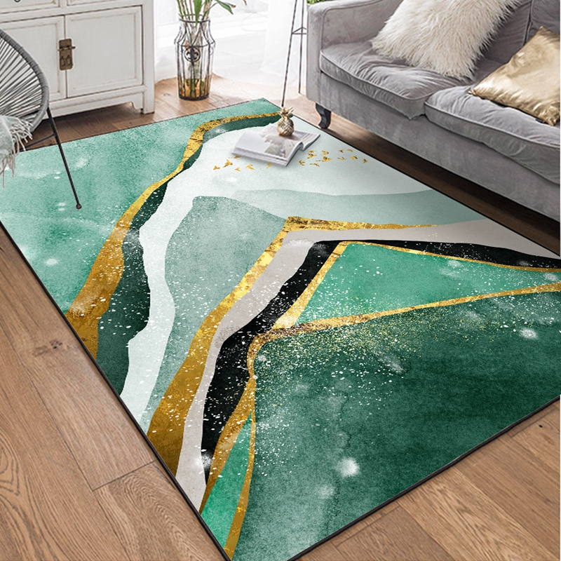 Green Marble Pattern Carpets Area Rugs Geometric Golden Striped Bedroom Living Room Parlor Tapete Home Decor Non-Slip Floor Mats