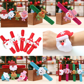 1/2/5Pcs Christmas Patting Clap Circle Bracelet Wrist Decor Watch Xmas Children Gift Santa Claus Snowman New Year Party Toy image