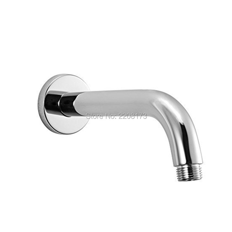 Direct Sales Bathroom Accessories Easy To Install Brass Shower Arm Fixed Shower Head  Round Tube, 8.5 Inch Long , Chrome Finish