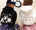 2016 japanese harajuku punky gótico de la vendimia k-pop uno spo rosa rosa y poco bad girl bordado sudaderas con capucha de las mujeres recortada tops