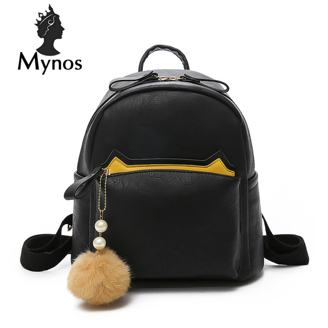 ff7384b32a MYNOS Mulheres Bagpack Sacos de Escola de Couro Mochila Para Adolescente  Menina Grande Capacidade bolsa de