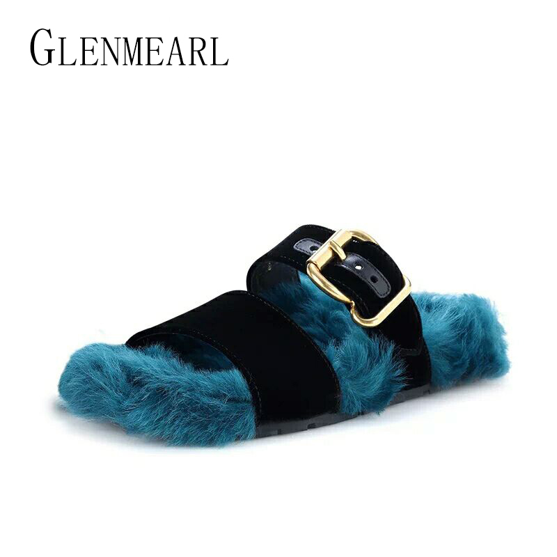 Brand Fashion Winter Autumn Women Flats Fur Slippers Shoes Wool Cashmere Warm Outside Slippers For Females Plus Size Fur Shoes25 females shoes women sandals fashion shoes
