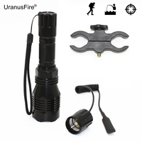 Hunting Light LED Flashlight Torch Green Red White Light Spotlight Cree XP-E R2 with Bracket Clip + Remote Pressure Switch