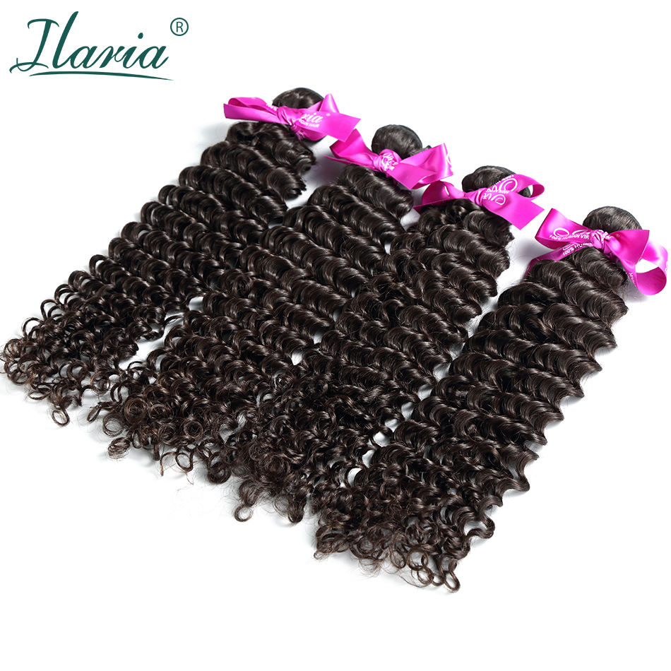 ILARIA HAIR Peruvian Curly Virgin Hair Weaves Deep Wave 4 Bundles Unprocessed Human Hair Weft Bundle Natural Color Free Shipping