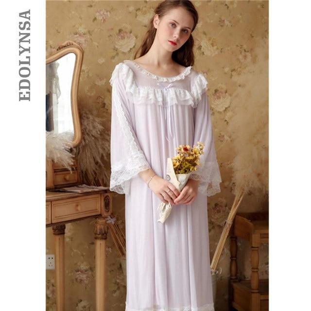 6f665a499c6b Vintage Nightgowns Sleepshirts Autumn Sleepwear Women Light Purple Lace  Draped Sleep Wear Night Dress Plus Size Homewear T340