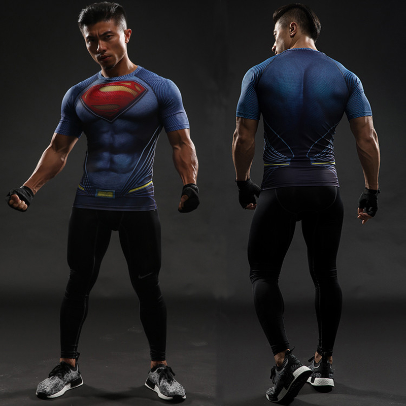 Batman VS Superman T Shirt Tee 3D Printed T-shirts Men Short Raglan sleeve Fitness Cosplay Costume Slim Fit Compression Top Male