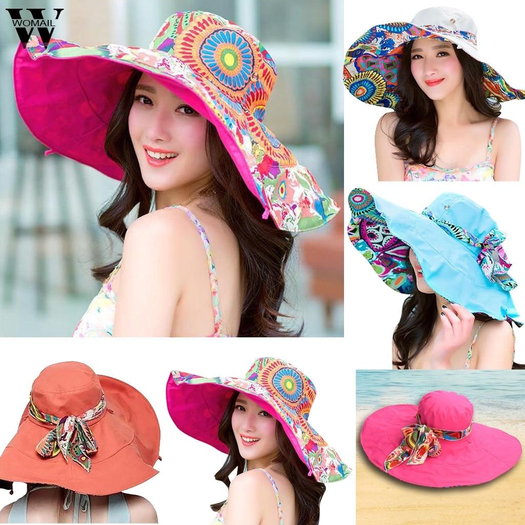 Womail Women Hat Summer Print Two-Side Big Brim Straw Hat Sun Floppy Wide Brim Hats Beach Cap Sun Hat 2019 Dropship F25