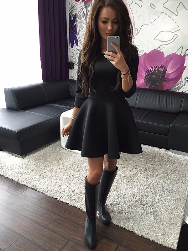Red Black Grey Women Autumn Winter Three Quarter Sleeve Pleated Party Dresses Y Elegant Mini Skater Tunic New In From S
