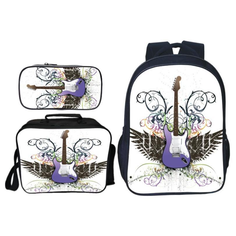 Nouveau Style 3 pièces/ensemble impression guitare enfants bébé sacs d'école Cool étoiles enfants sacs à dos pour garçons cartable étudiant costume Bookbag
