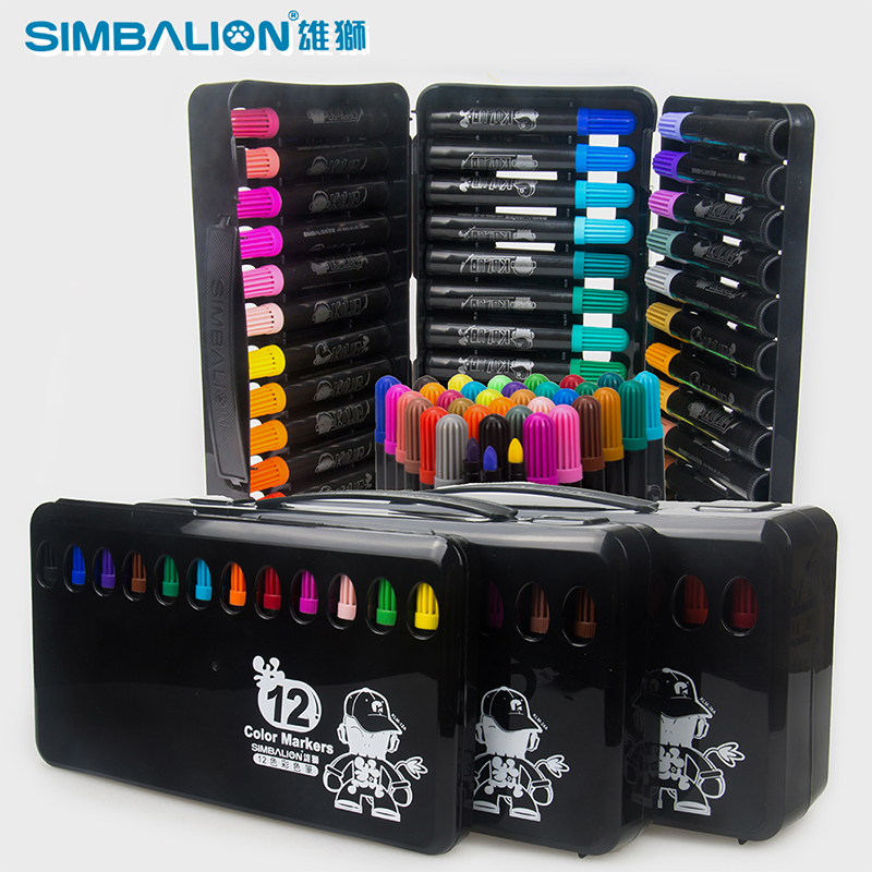 SIMBALION 24 Color Pen Art Marker Drawing set colors Children Watercolor pen safe non-toxic water washing graffiti health promotion touchfive 80 color art marker set fatty alcoholic dual headed artist sketch markers pen student standard