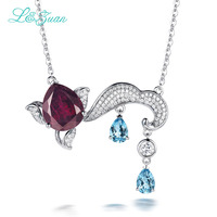 L Zuan S925 Silver Natural 7 94ct Garnet Pendant Necklace Red Stone Jewelry With Silver Chain