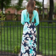 Feminine Summer Flowers Printed Cotton Maxi Dress