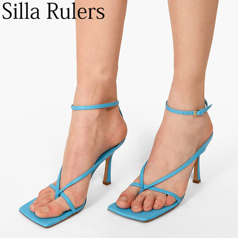 Runway Flip-flops Genuine Leather Summers Sandals Woman One Strap Square Toe Thin High Heels Sandals Woman Zapatos De Mujer 2019