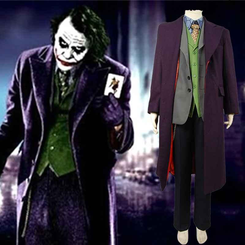 Batman Dark Knight Joker Purple Long Trench Coat Halloween costume Cosplay Only Purple Coat Jacket