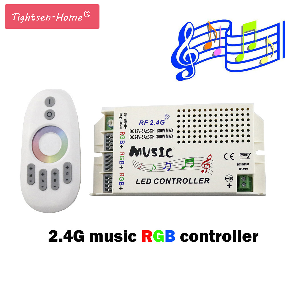 2.4G LED Music RF RGB Controller DC 12V-24V&Wireless Remote For 5050 3528 3014 RGB Led Strip light Led Control Music Conductor