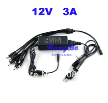 1 split 8 power cable adapter & 12V 3A CCTV power supply