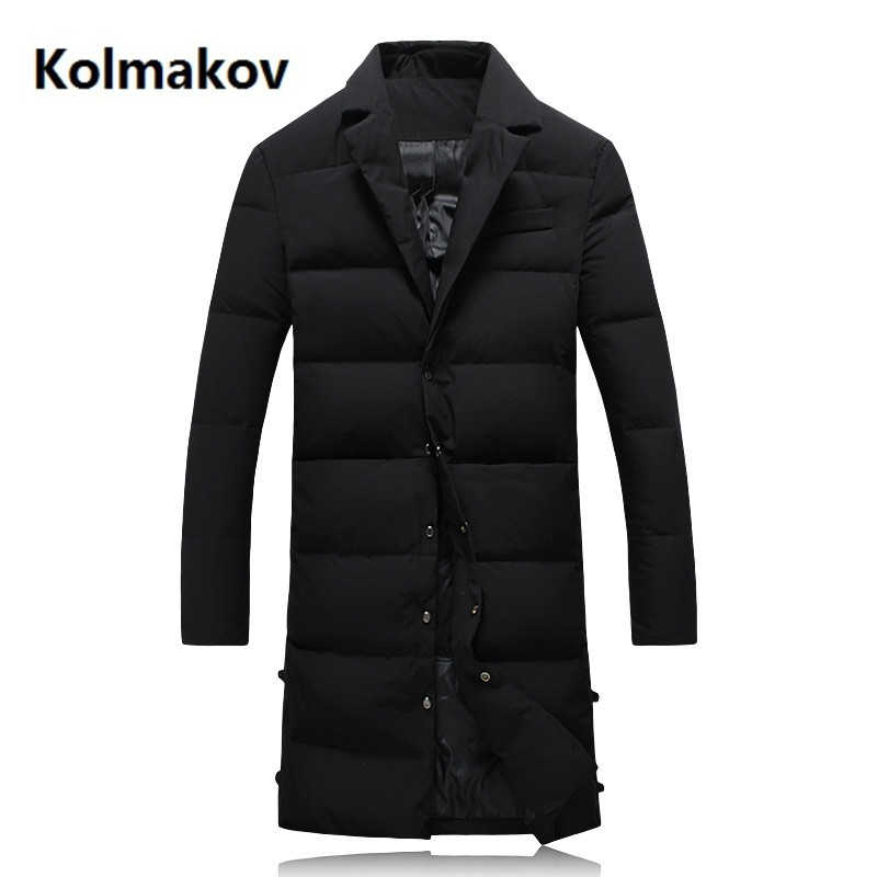 2018 new winter Long style Men's fashion thicken jackets white duck   down     down   jacket Men's   Down     Coats   trench   coat   men Parkas