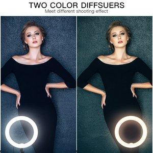 Image 3 - Кольцевой светильник samtian, 18 дюймов, кольцевой светильник со штативом, зеркало для макияжа, крепление для телефона, кольцевые лампы с регулируемой яркостью, 5500K, кольцевой светильник на Youtube