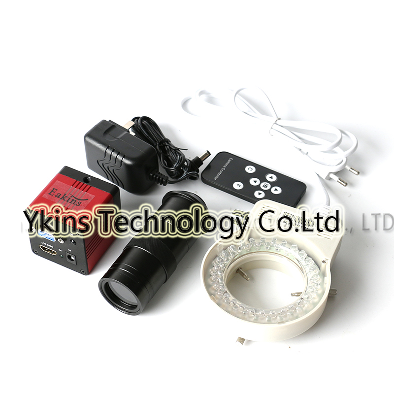 1080P 1/2.7 60F / S HDMI VGA Digital Video Microscope Camera Infrared Remote Control + 100X Lens +56 LED Ring Light hdmi vga output digital industry microscope 1080p video camera set 100x c mount lens 56 led ring light for phone pcb inspection