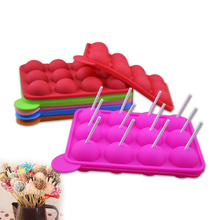 8/12 Holes Round Ball Lollipop Mold Cake Shop Chocolate Heart Pops Maker Candy DIY Tool With Sticks