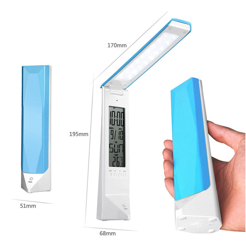 Touch Control LED Desk Lamp Calendar Clock  Eye Protection Study Table Light Foldable Reading Led Lamp lamparas de mesa digital eye protect portable led reading lamp dimmable touch led table lamp led rechargeable desk lamp with calendar alarm colck