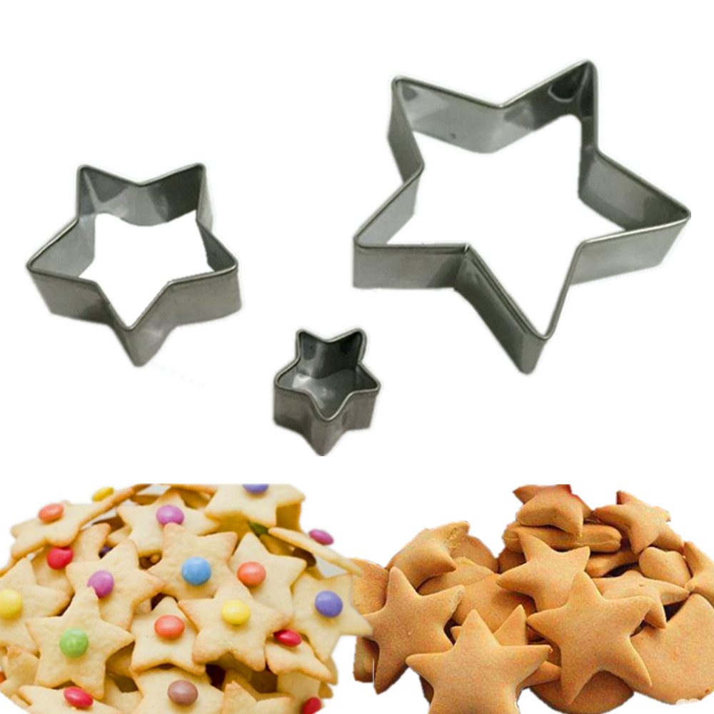 Promotion Cookie Cutter! 3pcs /set Star Shape Stainless