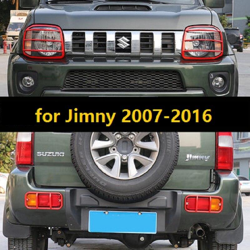 Autocollant de couverture de protection de lampe arrière avant en métal adapté pour Sukuzi Jimny 2007-2016 accessoires de style de voiture