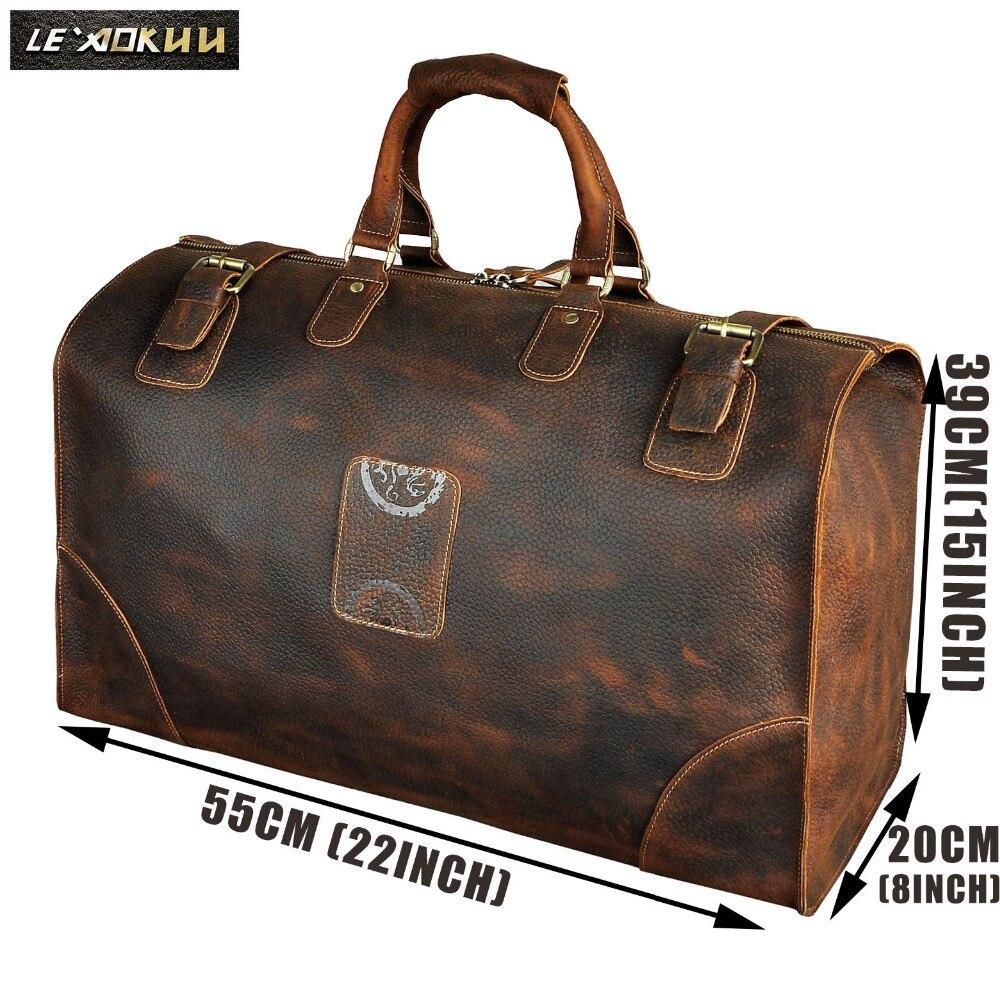 Véritable cheval fou en cuir hommes grande capacité conception Duffle voyage bagages sac mâle mode valise fourre-tout sac à main A8151