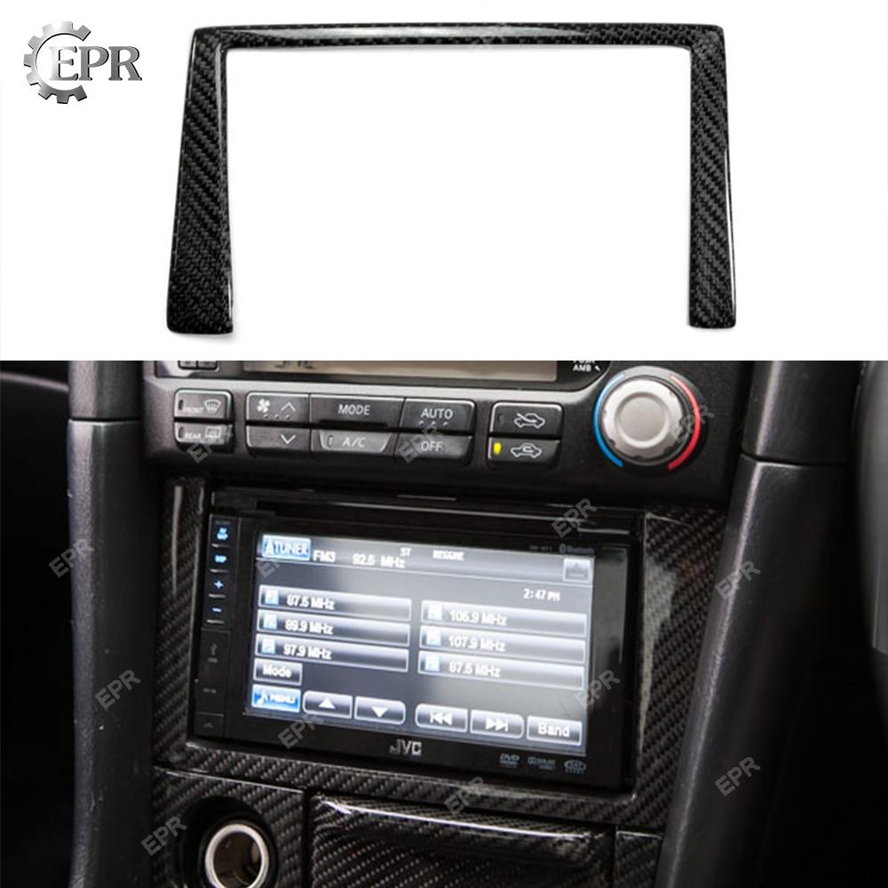 Pour Nissan horizon R34 GTR fibre de carbone Radio Surround Stick on (RHD) Kit carrosserie Tuning partie intérieur pour GTR R34 couverture Radio carbone