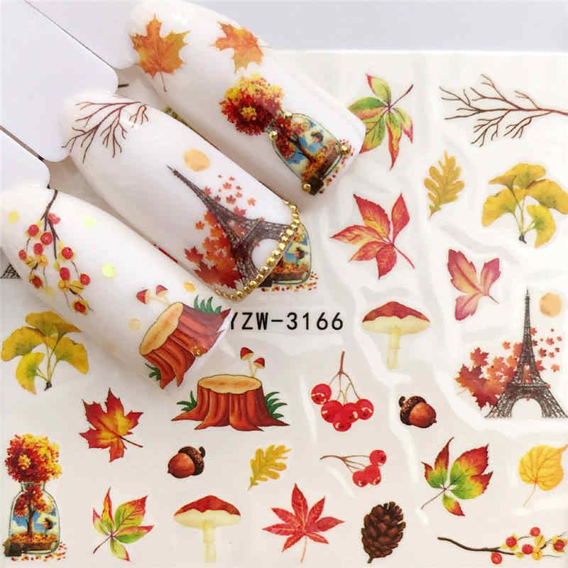 YWK 1 PC カラフルな秋シーズンツリー/カボチャ水転写ネイルアートステッカー美容赤カエデの葉デカール爪装飾