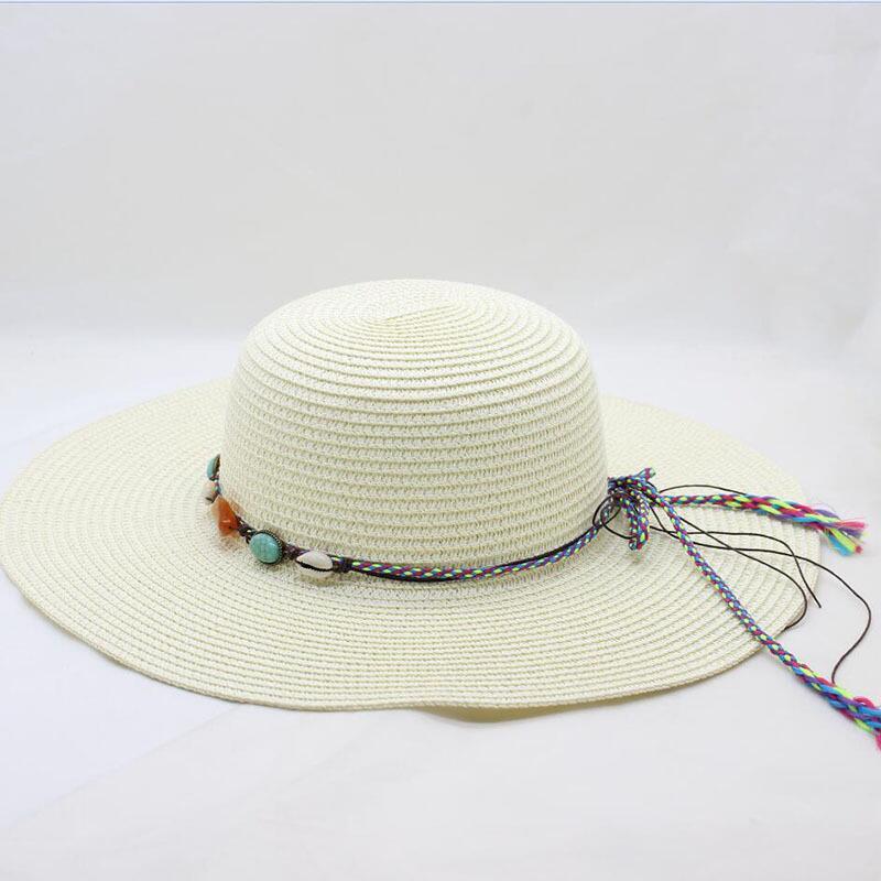 Girl summer beach cap women sun visor straw hat for women floppy panama hats ladies casual wide brim caps female feminino in Women 39 s Sun Hats from Apparel Accessories