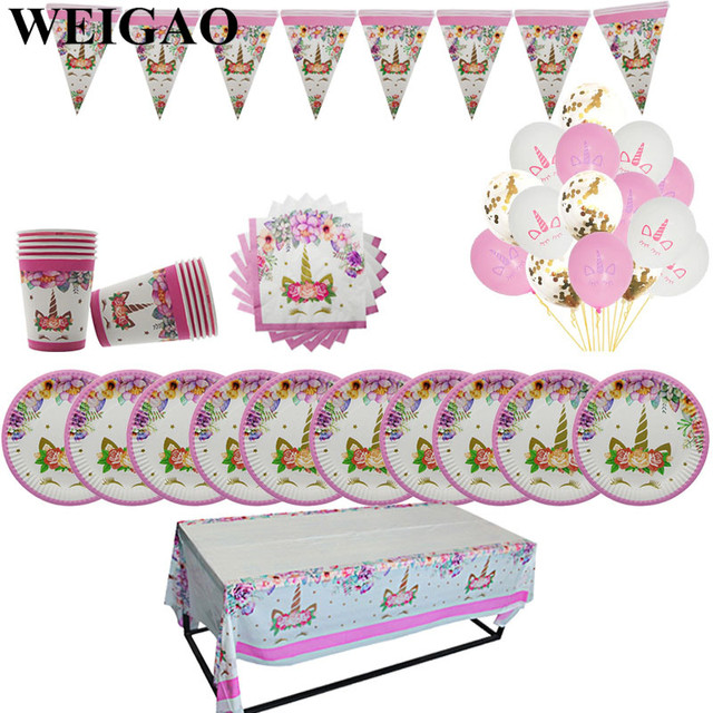 WEIGAO Unicorn Birthday Party Decorations Kids Cartoon Horse Disposable Tableware Sets 1st Birthday Paper Cup/Hat/Napkins Favors 1