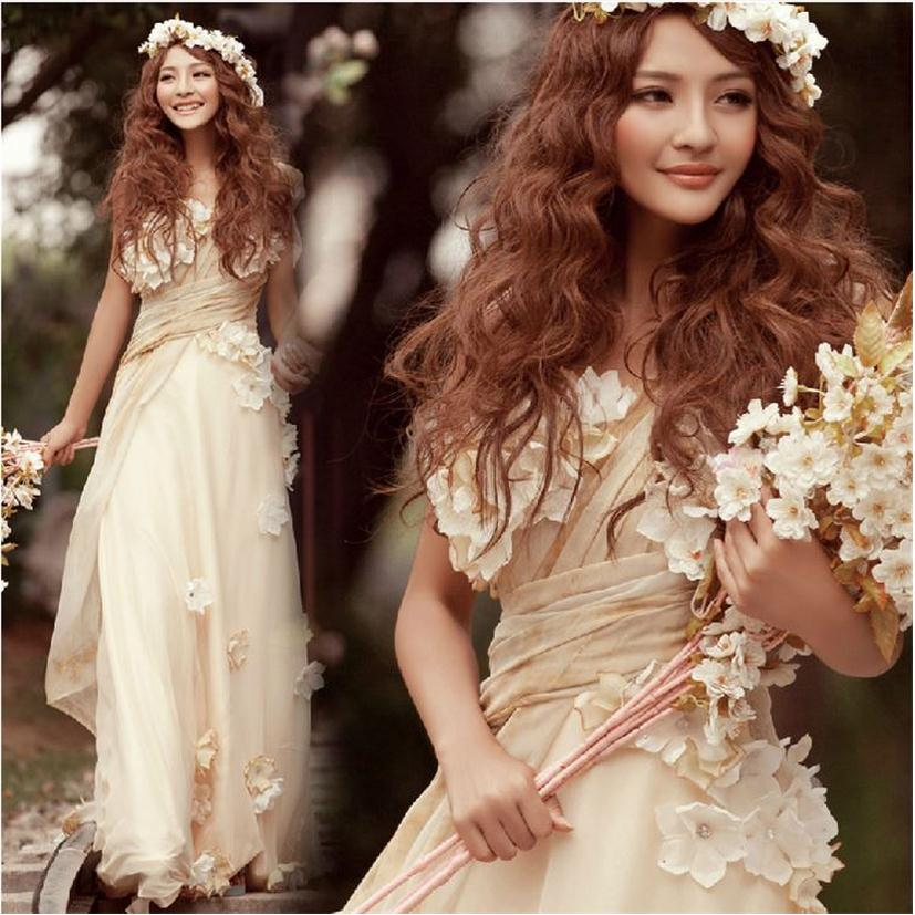 Customized Champagne & White Floor Length Greek Style Goddess Princess Dress Royal Elegant Plus Size Women Beach Dresses w772