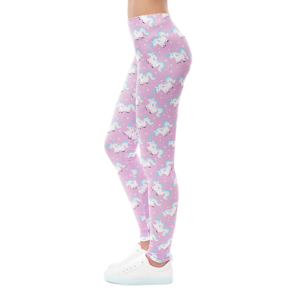 High Elasticity Women Legging Unicorn Life Rose Printing Fitness Leggings Fashion High Waist Woman Pants